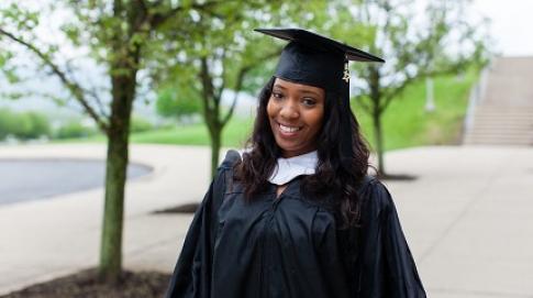 Student in graduation attire