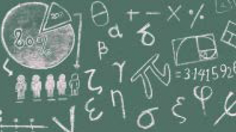 Chalkboard with letters and symbols